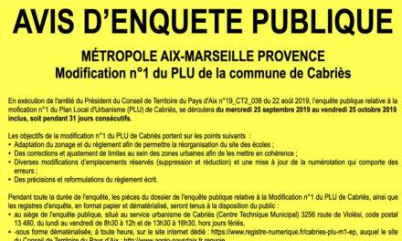 Enquête publique : Projet de modification n°1 du PLU de la commune de Cabriès