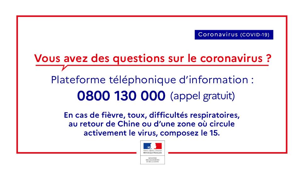Information Coronavirus à titre préventif du rectorat