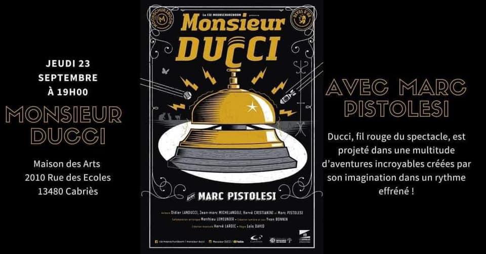 Marc Pistolesi revient à la Maison des Arts Jeudi 23 Septembre
